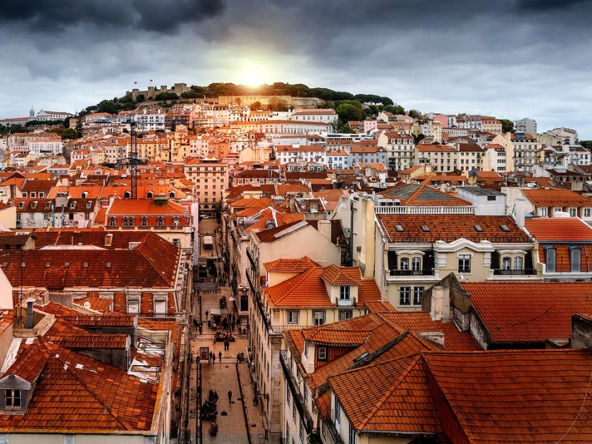 Portugal Lisbon Horizon Storm Retouch City Sunset